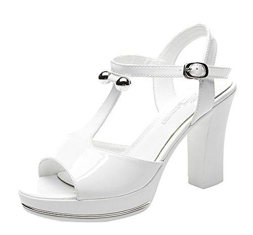 T&Mates Women's T-Strap Peep-Toe Ankle Buckle Block Heel Pumps