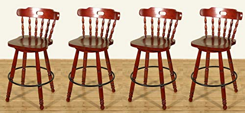 Set of 4 Cherry Spindle Back Swivel Bar Stools (Spindle Back Cherry)