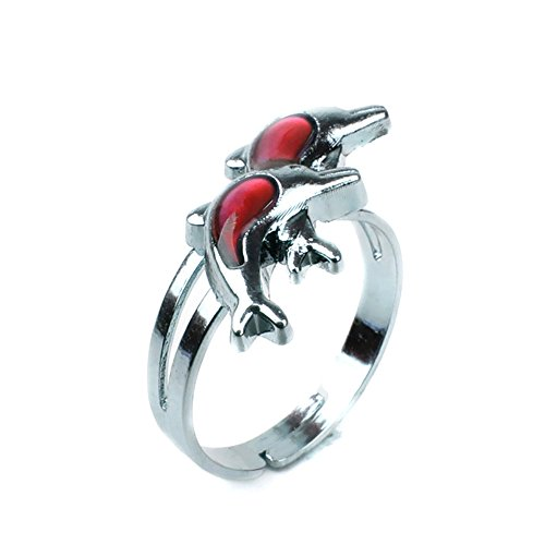 June-29 10pcs Fine Jewelry Mood Rings Classic Temperature Change Color Mood Ring Lovers (Adjustable Size) One Size fits All (Double Dolphin) ()