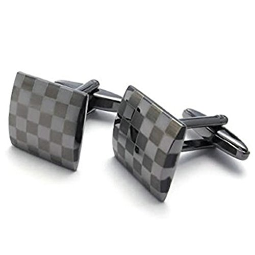 Men Stainless Steel Cufflinks Classic Square Checkered Black Business Cufflink for Men by (Steel Square Cufflinks)