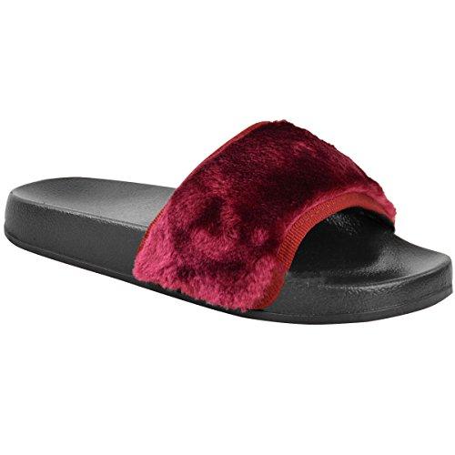 de Zapatos Mulas planas piel negro inspiradas Farrah Fenty deslizantes sandalias Tamaño con peludas Rihanna Señoras vino en wZzq84CZ0