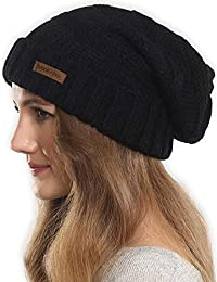 Slouchy Cable Knit Cuff Beanie - Stay Warm & Stylish - Chunky, Oversized Slouch Beanie Hats for Women & Men - Serious Beanies for Serious Style