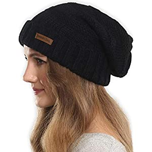 Brook + Bay Slouchy Beanie Winter Hat for Women – Slouch Oversized Cable Knit Hats – Warm Chunky Knitted Cap for Cold…