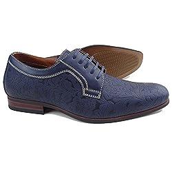 Ferro Aldo MFA-19380BLE Men's Blue Floral Lace Up Round Toe Oxford Dress Shoes (9.5)