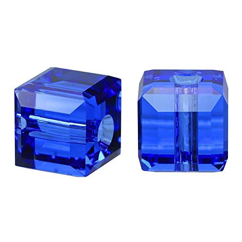 Pearl Cube Beads - 50 8mm Adabele Austrian Cube Crystal Beads Sapphire Compatible with Swarovski Crystals Preciosa 5601 SSC813