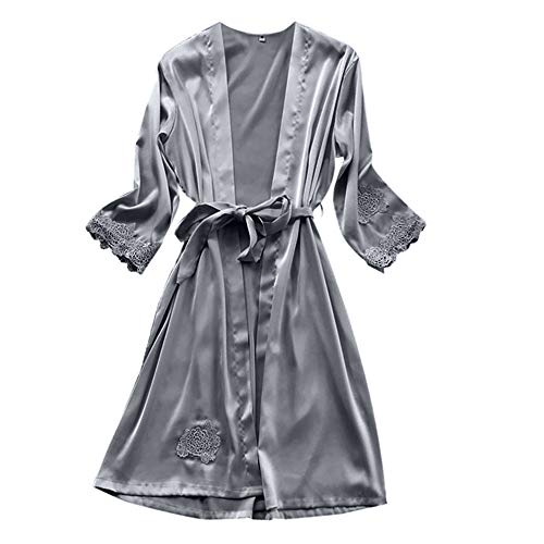 - Cenglings Women Sexy Lingerie Silk Lace Robe Dress Babydoll Nightdress Sleepwear Kimono 1pc Dress+1pc Kimono Pajamas Set