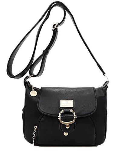 GMBBB180876 Femme Sacs Achats sacs Noir Pu à Des AgooLar Zippers bandoulière Cuir q4TxHv6fwv