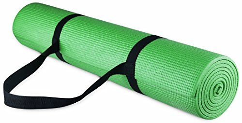 BalanceFrom GoYoga All Purpose High Density Non-Slip Exercise Yoga Mat with Carrying Strap, 1/4″, Green