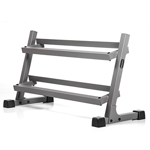 XMark's Two Tier Heavy Duty Steel Dumbbell Rack with Angled Shelves