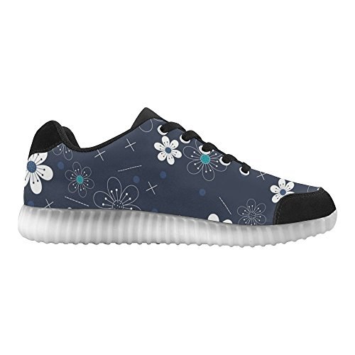 Rentprint Blauwe Bloem Lichtgevende Schoenen Knipperende Sneakers Casual Platte Schoenen Voor Dames