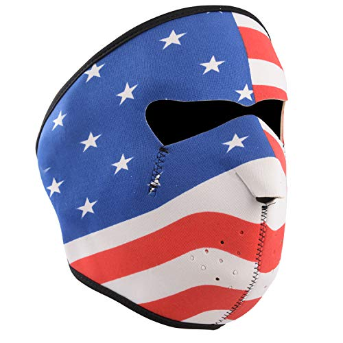 ONE250 Neoprene Full Face Reversible Mask Motorcycle Biker Snow Skateboard Motor Bike Scary Facemask (Stars & Stripes) (Best Motorcycle For Snow)