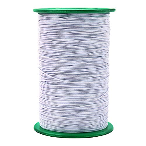 Tenn Well Elastic Beading String, 984 Feet x 0.5mm Stretchy String Craft Cord for Necklaces, Bracelets, Jewelry Making (White)