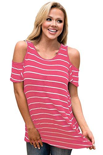New rosy bianco Stripe Cold Shoulder camicetta estate camicia top casual Wear taglia UK 12EU 40