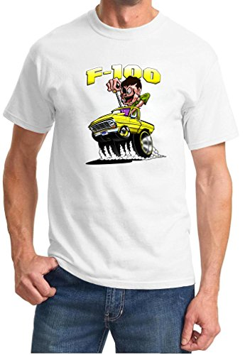 1967-72 Ford F100 F-100 Mad Monster Yellow Truck Design Tshirt large white ()