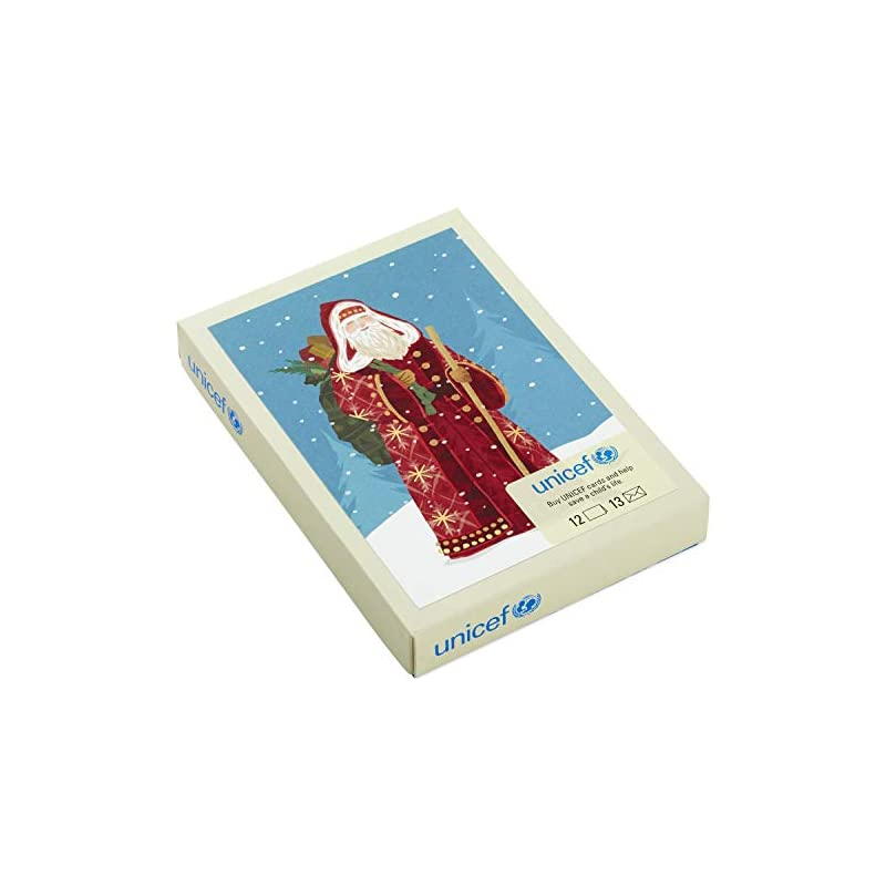Hallmark UNICEF Christmas Boxed Cards, Classic St. Nick (12 Cards and 13 Envelopes)