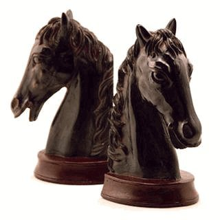 Horse Head Bookends - Ebony Horse Head Bookends Cast From Resin 7 1/2 Inches High