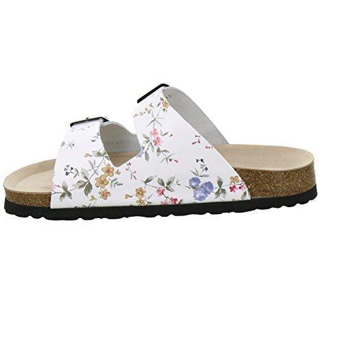 AFS-Schuhe 210006 - Zuecos de Piel para mujer Blanco - weiss flower