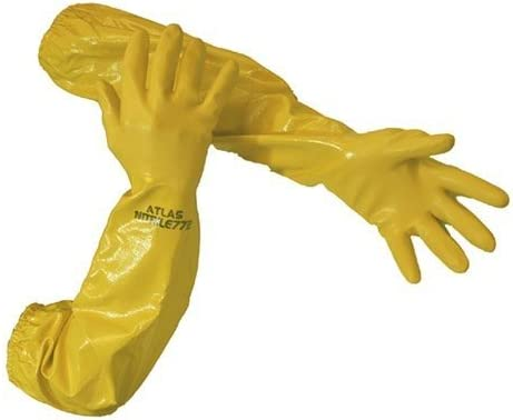 Atlas 772 26-Inch Nitrile Large Elbow Chemical Resistant Yellow Gloves 6-Pack