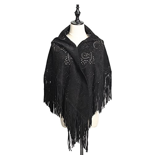 FREFEARTH Women's Real Suded Poncho Shawl Wrap with Punch Hole Patterns,Fringe 7.1