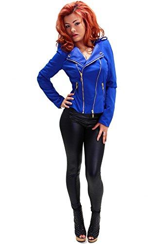 Moderne Jacke mit goldenen Reißverschlüssen Royal Blau
