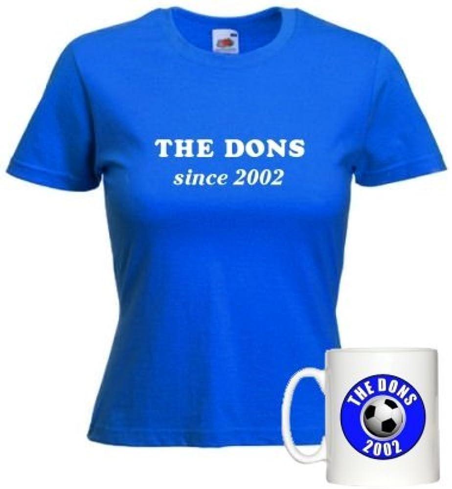 The Dons Desde 2002 Taza y Ajuste para Mujer Camiseta Azul Francia con Estampado Blanco: Amazon.es: Ropa y accesorios
