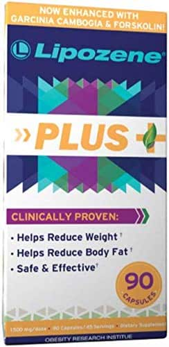 Lipozene Plus Garcinia Cambogia Extract, Forskolin, and Glucomannan - 50% HCA Pure Extract [Appetite Suppressant Weight Loss Diet Pills] No Caffeine No Jitters - 90 Capsules