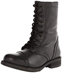 The Trop2-0 combat boots are perfect for you busy Festival season, fight the crowds and mosh pits in style! Genuine leather upper. Lace-up construction, side-zip closure. Soft leather lining. Lightly padded footbed for comfort. Stacked heel....