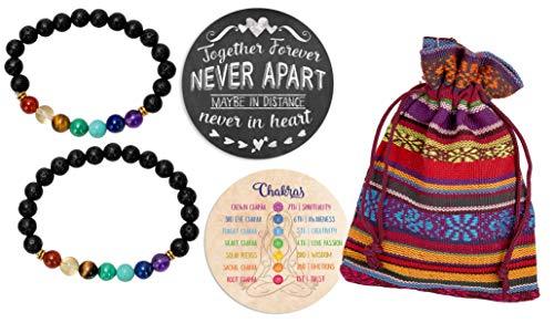 SPUNKYsoul Couple Chakra Stretch Bracelet for Lava Stone Healing Jewelry Men and Women (Couples)