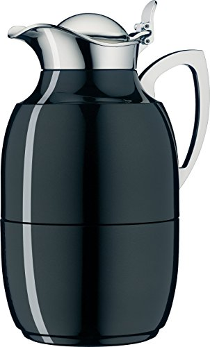 alfi Juwel Glass Vacuum Lacquered Metal Thermal Carafe for Hot and Cold Beverages, 1.0 L, Midnight Black by Alfi