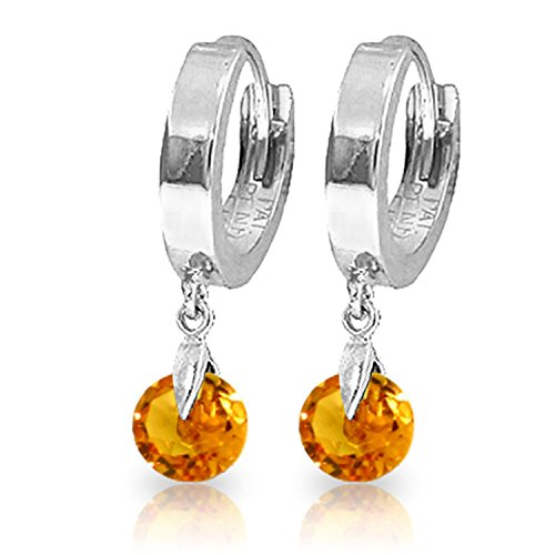 (1.6 Carat 14K Solid White Gold Hoop Earrings Natural)