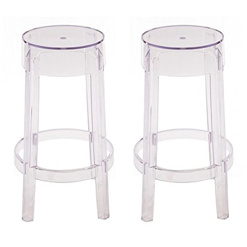 Set of 2 Charles Style Modern Ghost Counter Stool in Clear Finish (Modern Stool Acrylic Bar)