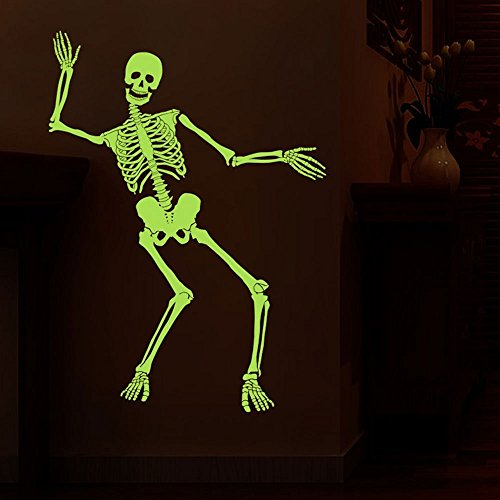 Spooky Posable Skeleton Glow in the Dark Halloween Decor Stickers Halloween Decorations for Kids Rooms Nursery Halloween (Diy Halloween Dorm Decorations)