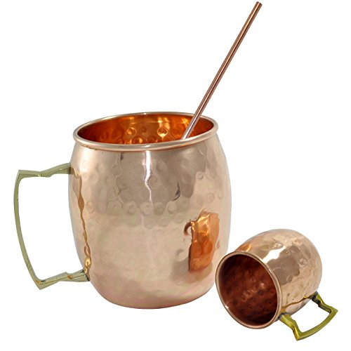 DakshCraft Copper Mugs, Shot Mugs & Straw Good for Drinking Beer – Drink ware Essentials 41ZS0PSOKRL