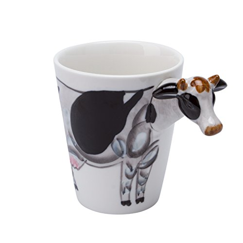 Ceramic Coffee Mugs Cups Animal Series 3D Design 12-Ounce Capacity Funny Gift (Funny Cow)