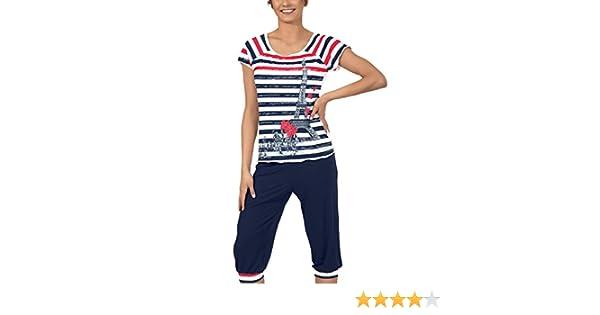 AVA Pijama para Mujer Paris (Azul Marino, S): Amazon.es: Ropa y accesorios