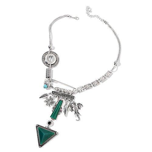 Shop LC Multi Green Chroma Blue Howlite Silvertone Statement Fashion Pendant Necklace 21