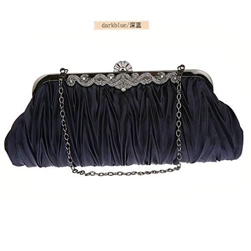 Evening Silk Dark Purse Cocktail Color Clutches Blue Handbags Bag Women Beige JESSIEKERVIN 5AwtqBfK