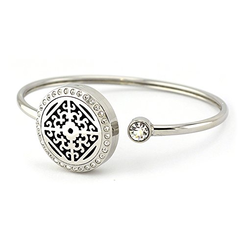 Flower Band Bangle (Vintage Essential Oils Locket Bracelet Aromatherapy Diffuser Bangle Flower Crystals Stainless Steel Band with 8 Refill Pads)
