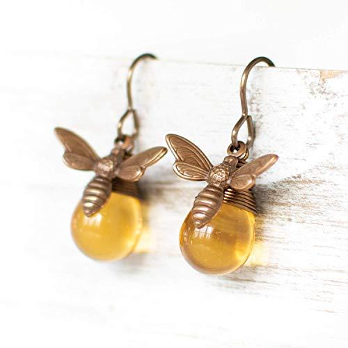 Honey Bee Glass Drop Earrings