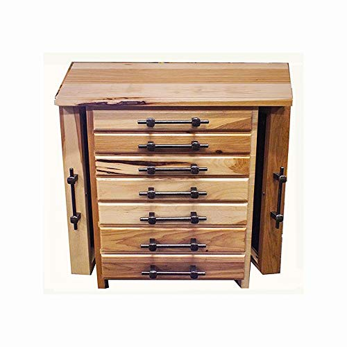Allamishfurniture Amish Jewelry Boxes, 7 Drawer 2 Sides Rustic Hickory Desktop Jewelry Chest