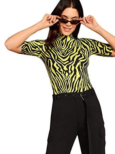 (WDIRARA Women's Casual Zebra Print Top Mock Neck Stretch Fashion Slim Tee Green M)