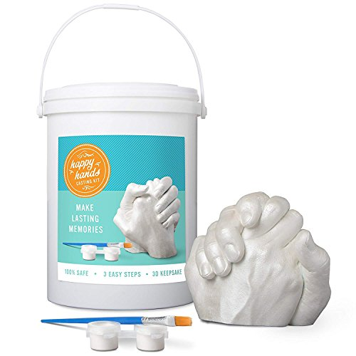 "DIY Plaster Hand Casting Kit - ""Happy Hands"" 2 Person Hand Molding Kit for  Adults and Kids"