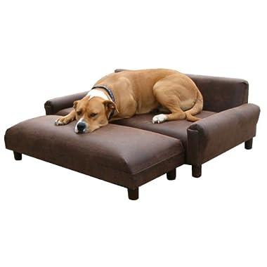 Memory Foam Orthopedic Dog Bed Sofa 39  x 47  Extra Large With Ottoman Buckskin Microfiber Fabric