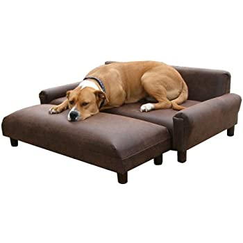 "ComfortMax Memory Foam Orthopedic Dog Bed Sofa 39"" x 47"" Extra Large With Ottoman BROWN SUPER SOFT FAUX LEATHER UPHOLSTERY"