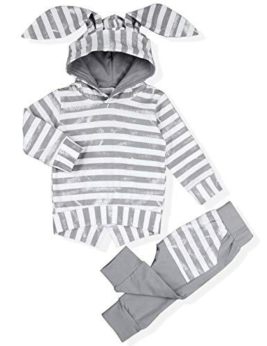 Baby Girl Boy Clothes Long Sleeve Hoodie Rabbit Ear Sweatshirt+Striped Pants Outfit Sets (6-12 Months) by Walsoner
