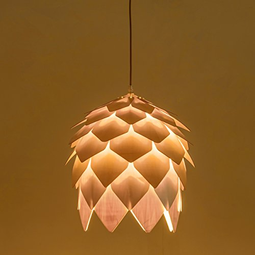 mingdaxin Natural wood Pendant Light, Modern Petals Ball Shape Hanging Lamp for Bedroom,Dining Room,Kitchen Island(1 Pack) - Cone Top Bracket
