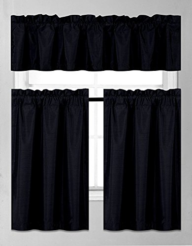 Fancy Collection 3 Pieces Faux Silk Blackout Kitchen Curtain Set Tier Curtains and Valance Set Solid Black Window Set Thermal Backing Drapes New