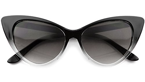 High Pointed Cat Eye Sunglasses Vintage Retro Celebrity Eyewear (Black Faded, - Sunglass Celebrity