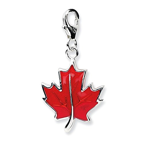 925 Sterling Silver Rh 3 D Enameled Maple Leaf Lobster Clasp Pendant Charm Necklace Outdoor Nature Fine Jewelry Gifts For Women For Her