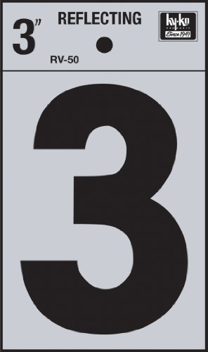 Reflective 3 Number Inch (Hy-Ko RV-50/3 Vinyl Self-Stick Reflective with Number 3, 3